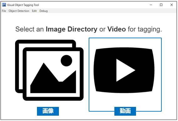 Select an Image Directory or Video for tagging.